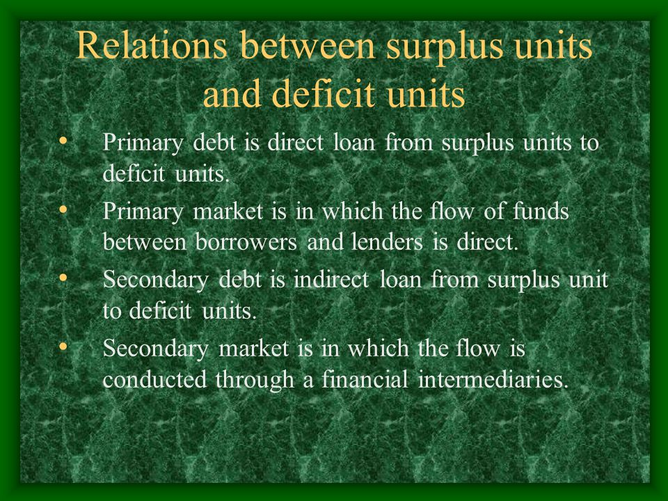 Relations between surplus units and deficit units