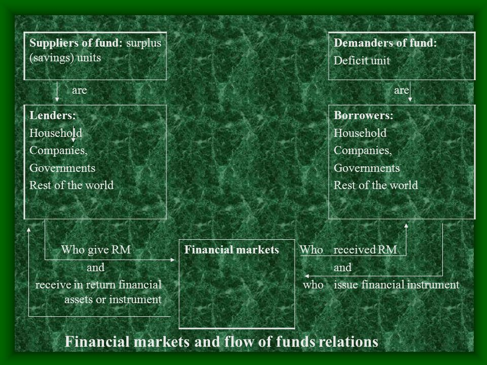 Financial markets and flow of funds relations