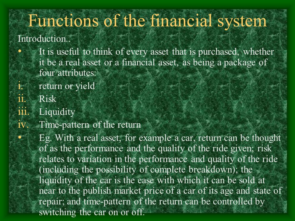 Functions of the financial system