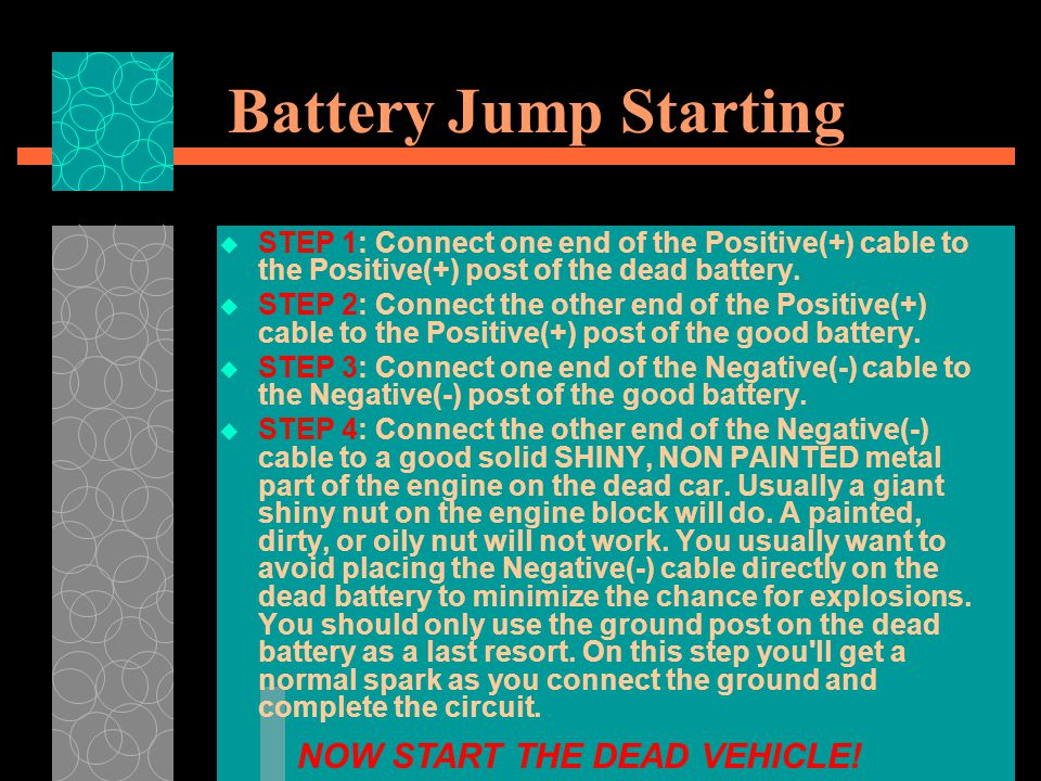 Battery Jump Starting NOW START THE DEAD VEHICLE!