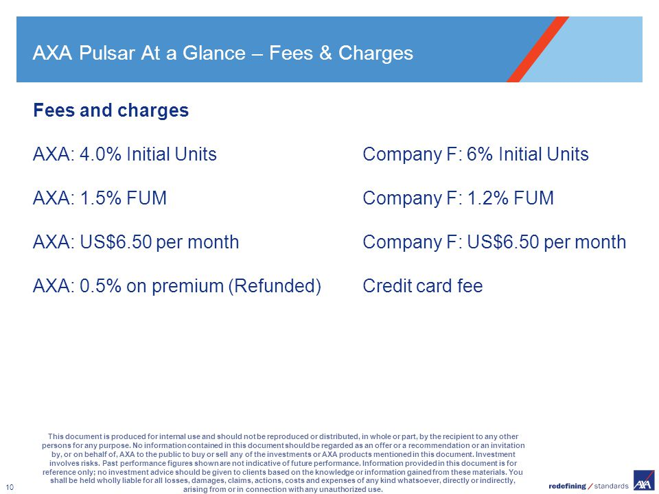 AXA Pulsar At a Glance – Fees & Charges