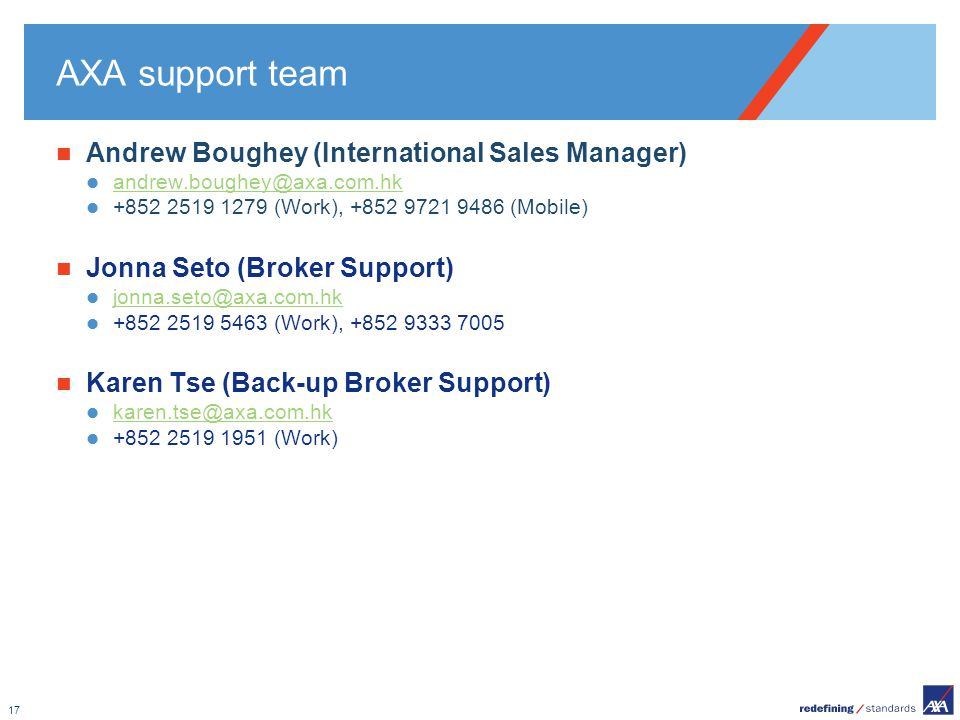 AXA support team Andrew Boughey (International Sales Manager)