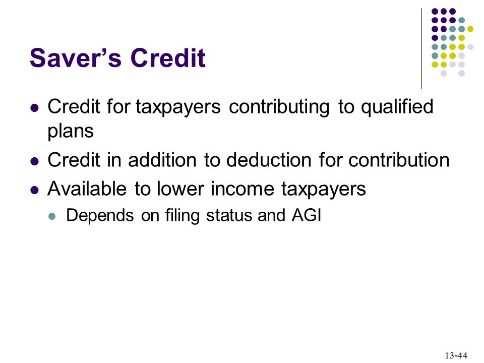 Saver's Credit Credit for taxpayers contributing to qualified plans