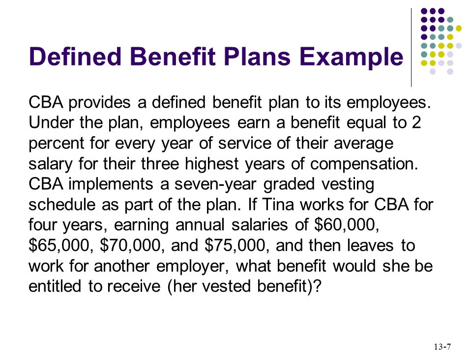 Defined Benefit Plans Example