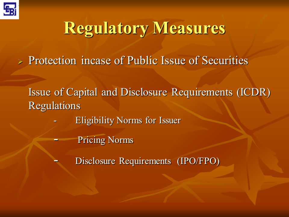 Regulatory Measures Protection incase of Public Issue of Securities