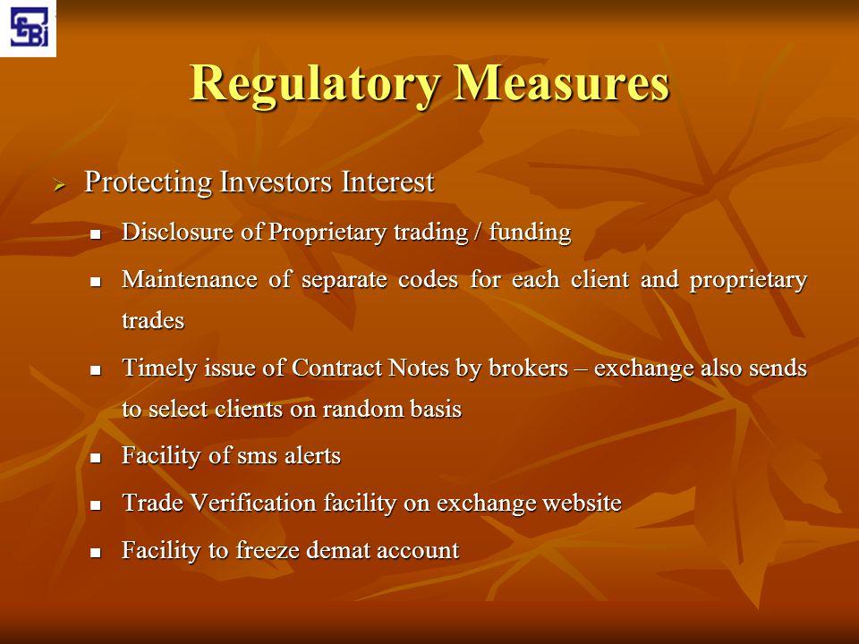 Regulatory Measures Protecting Investors Interest