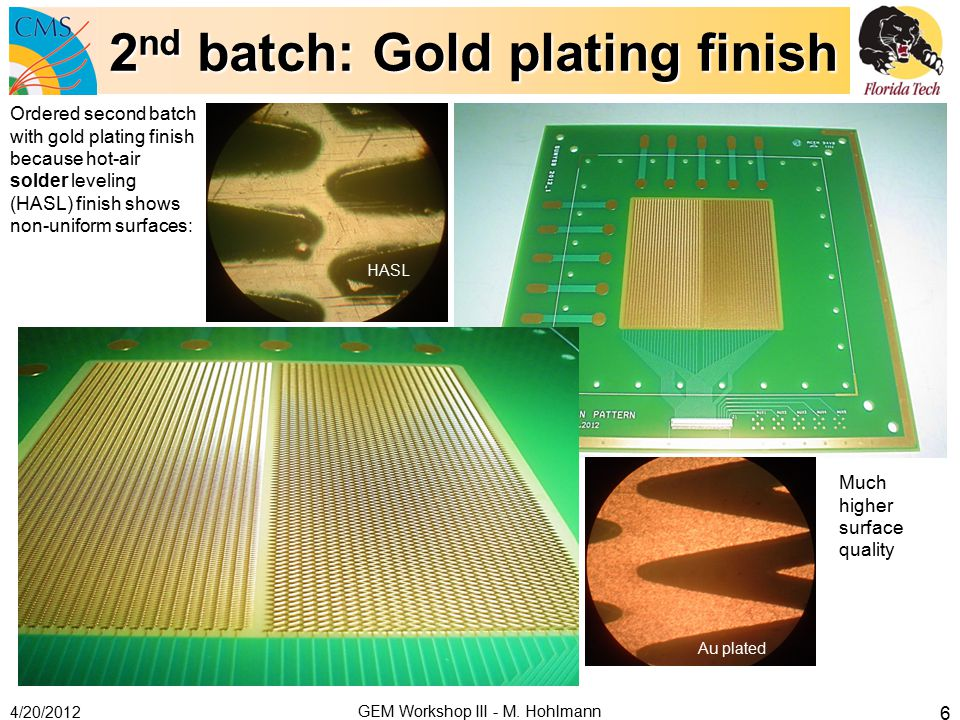 2nd batch: Gold plating finish