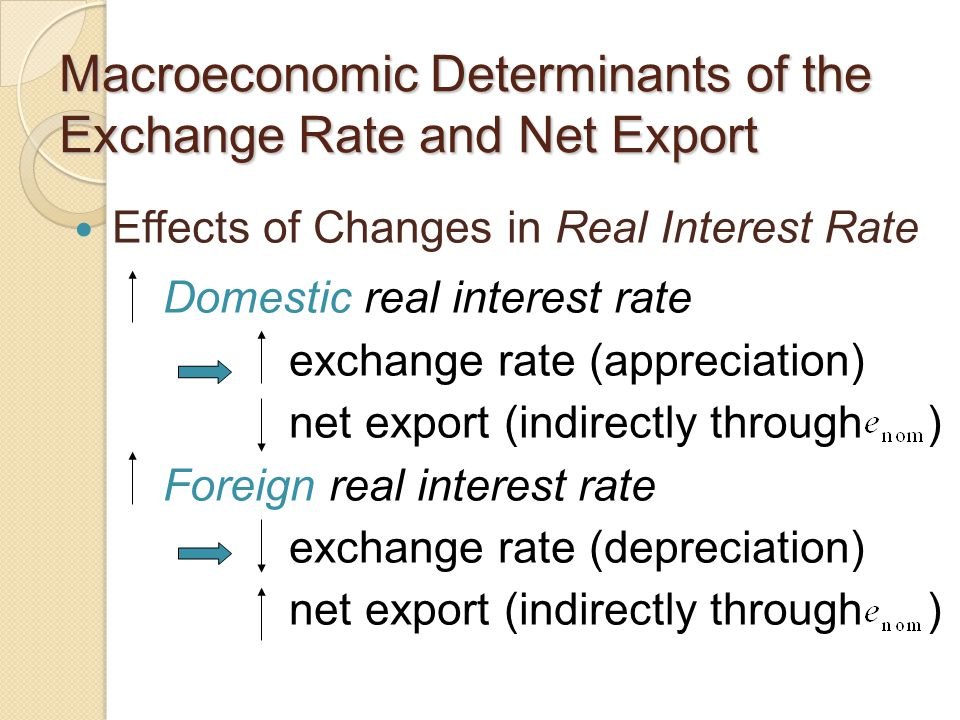 Macroeconomic Determinants of the Exchange Rate and Net Export