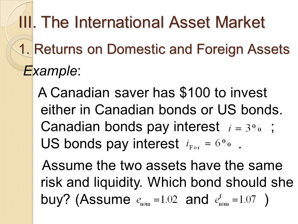 III. The International Asset Market