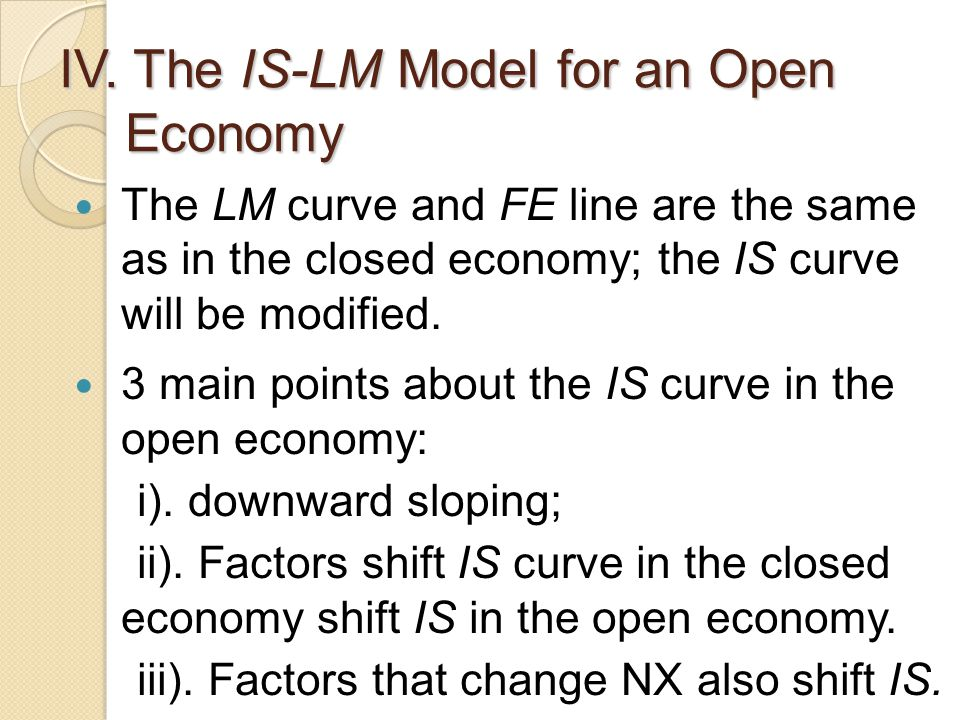 IV. The IS-LM Model for an Open Economy