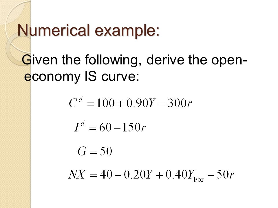 Numerical example: Given the following, derive the open- economy IS curve:
