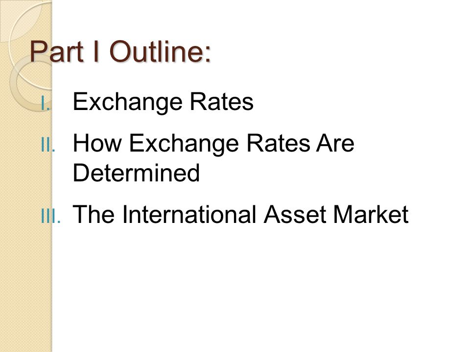 Part I Outline: Exchange Rates How Exchange Rates Are Determined