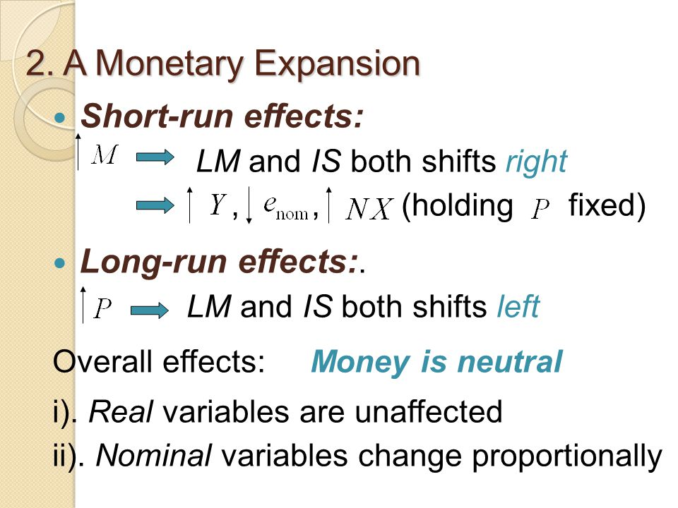 2. A Monetary Expansion Short-run effects: Long-run effects:.