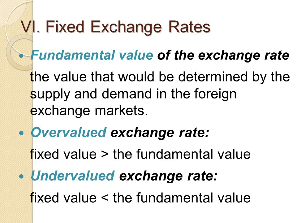 VI. Fixed Exchange Rates