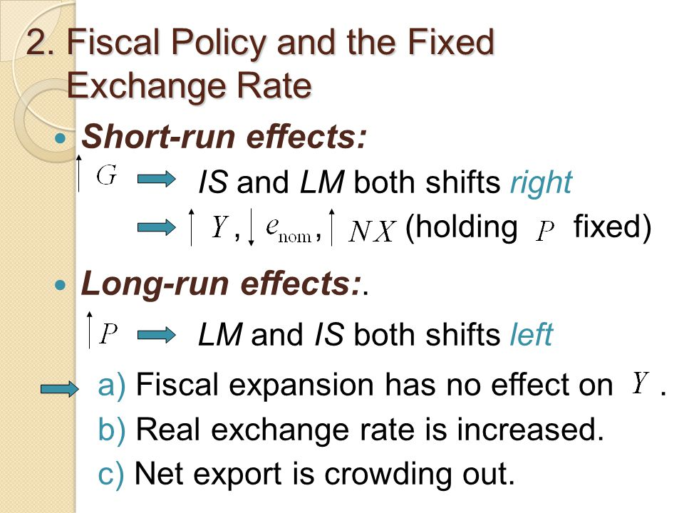 2. Fiscal Policy and the Fixed Exchange Rate