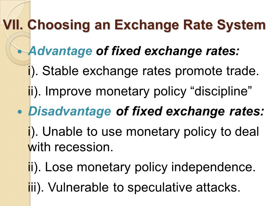 VII. Choosing an Exchange Rate System