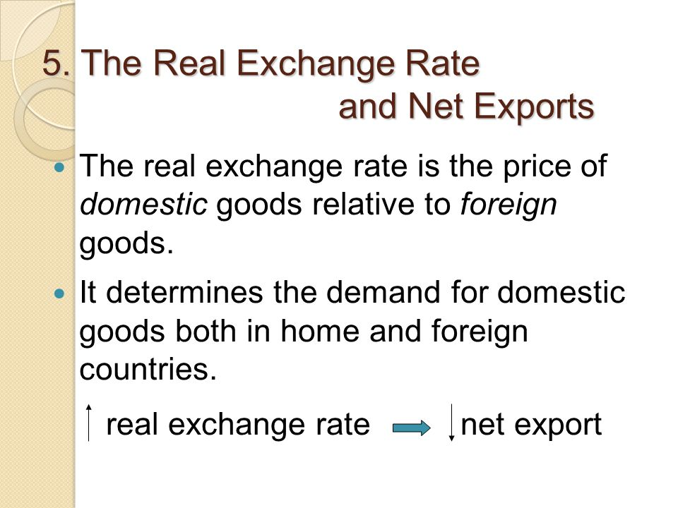 5. The Real Exchange Rate and Net Exports