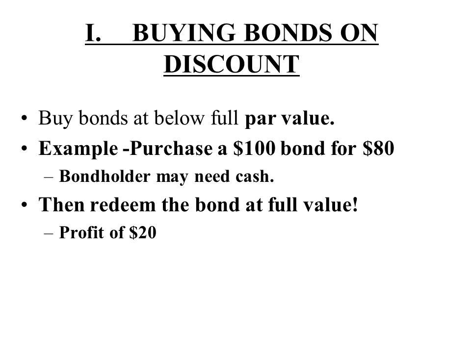 I. BUYING BONDS ON DISCOUNT