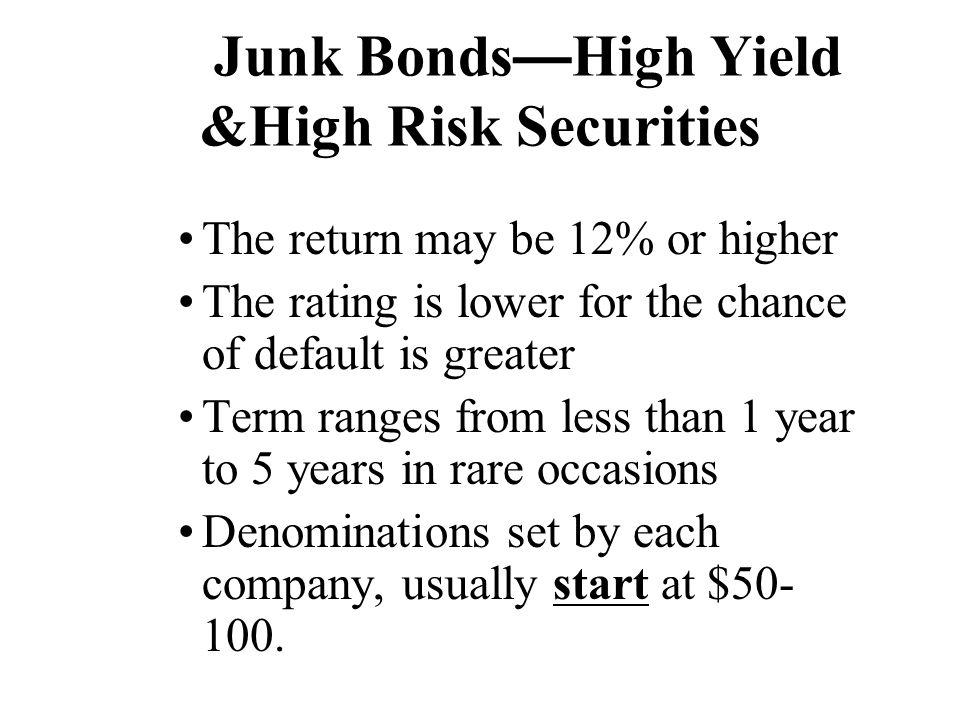Junk Bonds—High Yield &High Risk Securities