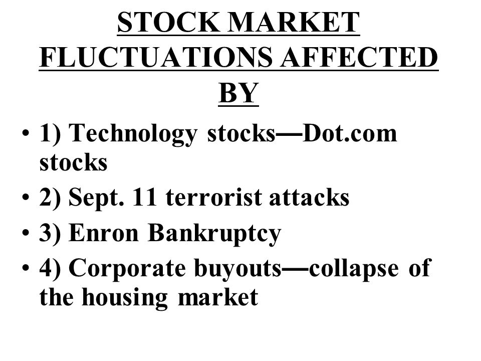 STOCK MARKET FLUCTUATIONS AFFECTED BY