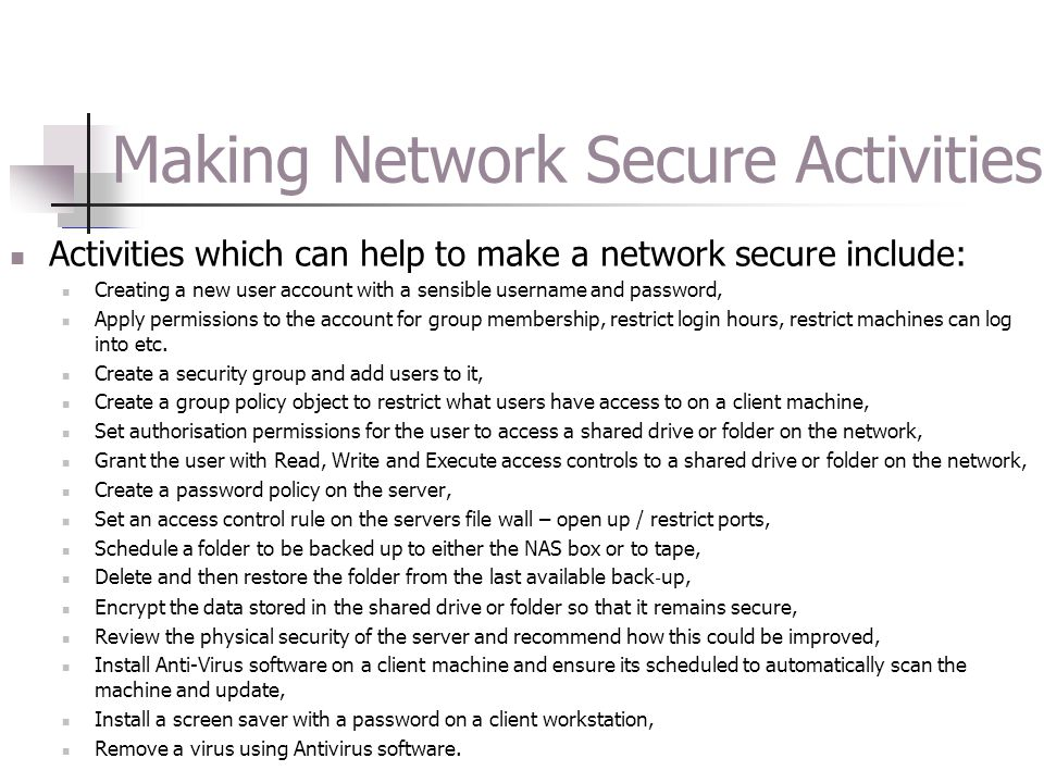 Making Network Secure Activities