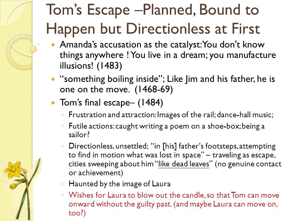 Tom's Escape –Planned, Bound to Happen but Directionless at First