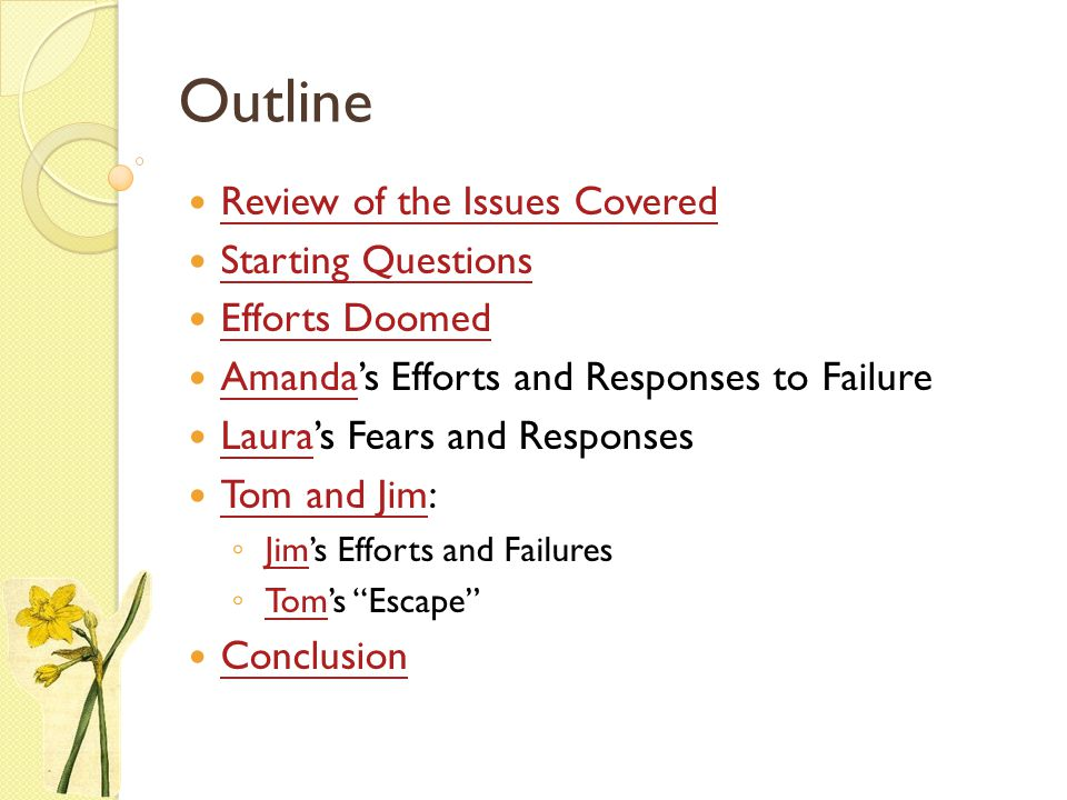 Outline Review of the Issues Covered Starting Questions Efforts Doomed