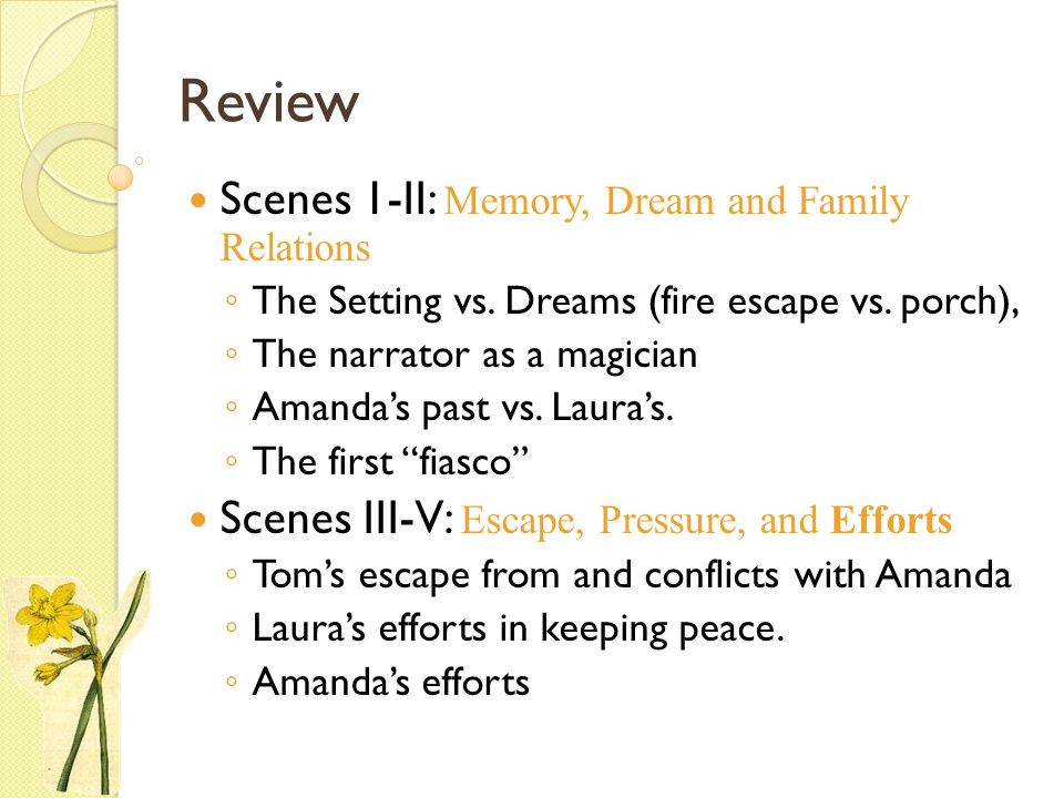 Review Scenes 1-II: Memory, Dream and Family Relations