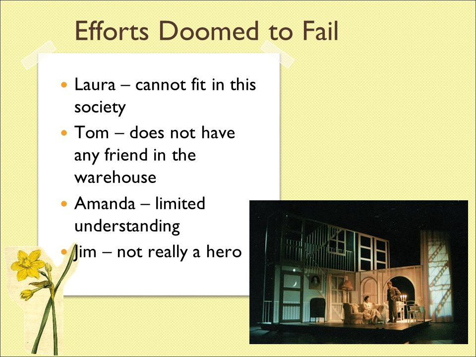 Efforts Doomed to Fail Laura – cannot fit in this society