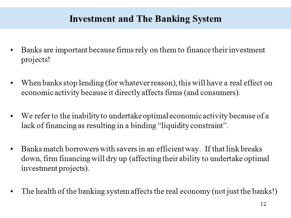 Investment and The Banking System
