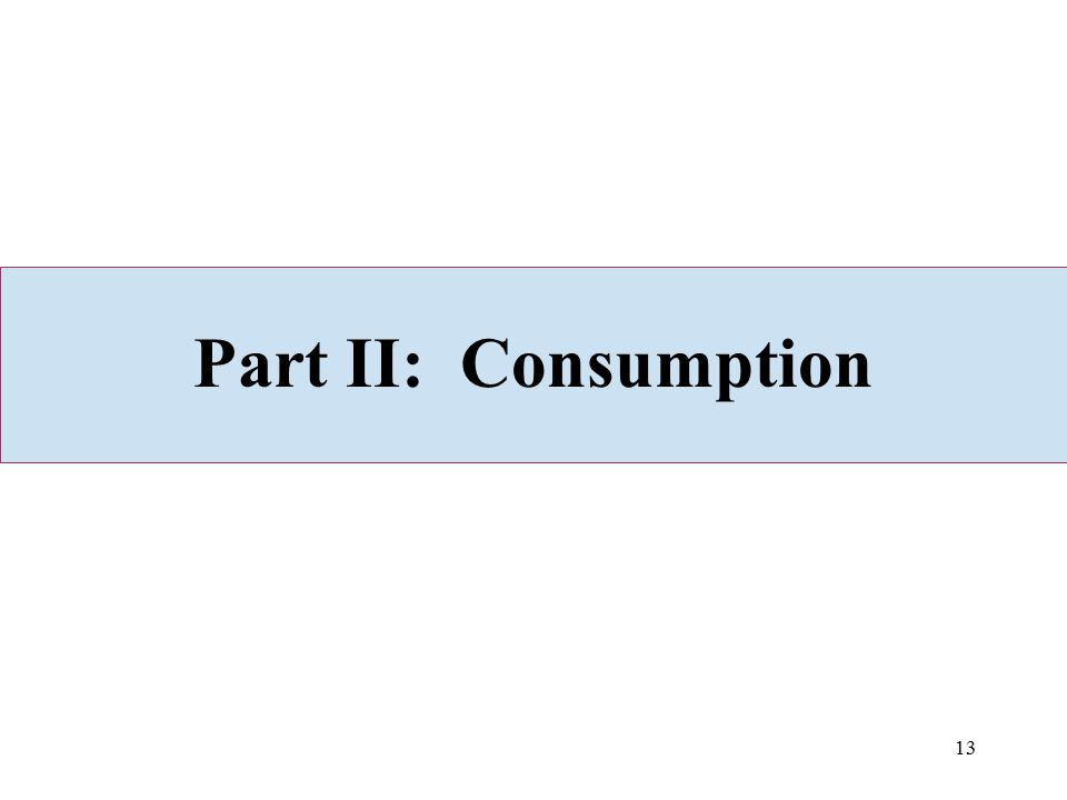 Part II: Consumption