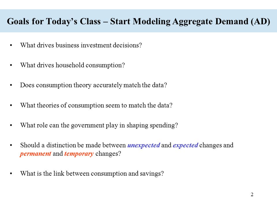 Goals for Today's Class – Start Modeling Aggregate Demand (AD)