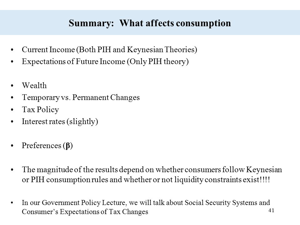 Summary: What affects consumption