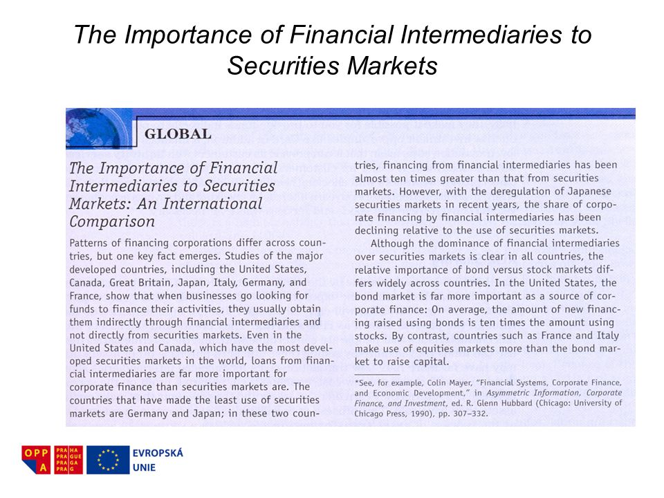 The Importance of Financial Intermediaries to Securities Markets