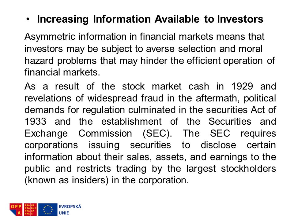 Increasing Information Available to Investors