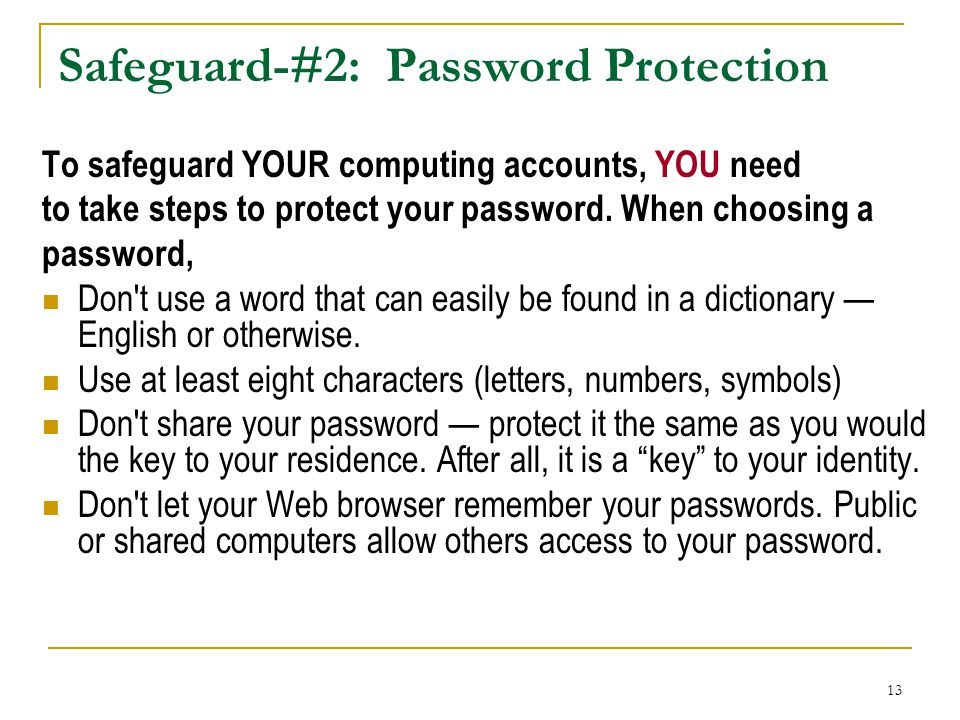 Safeguard-#2: Password Protection