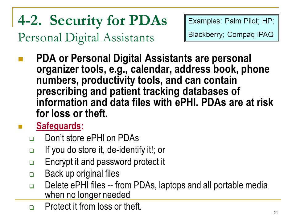 4-2. Security for PDAs Personal Digital Assistants