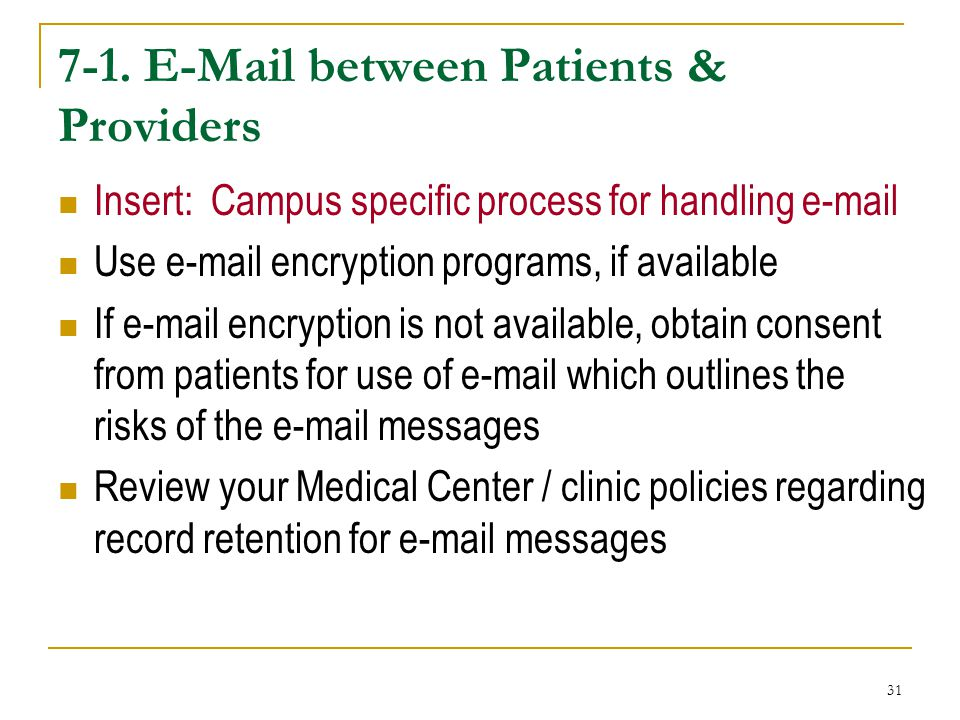 7-1. E-Mail between Patients & Providers