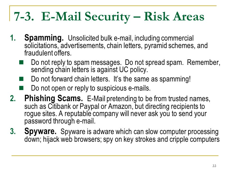 7-3. E-Mail Security – Risk Areas