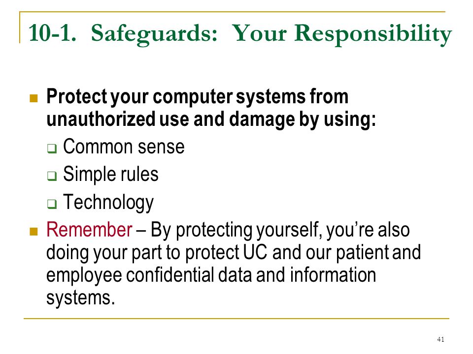 10-1. Safeguards: Your Responsibility