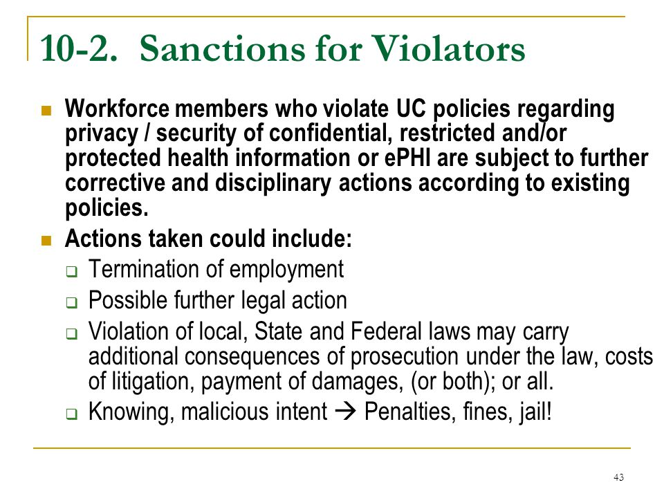 10-2. Sanctions for Violators