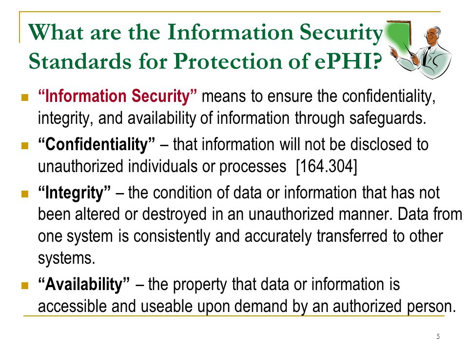 What are the Information Security Standards for Protection of ePHI