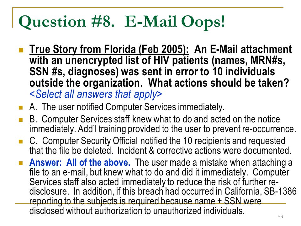 Question #8. E-Mail Oops!