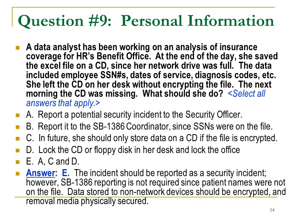 Question #9: Personal Information