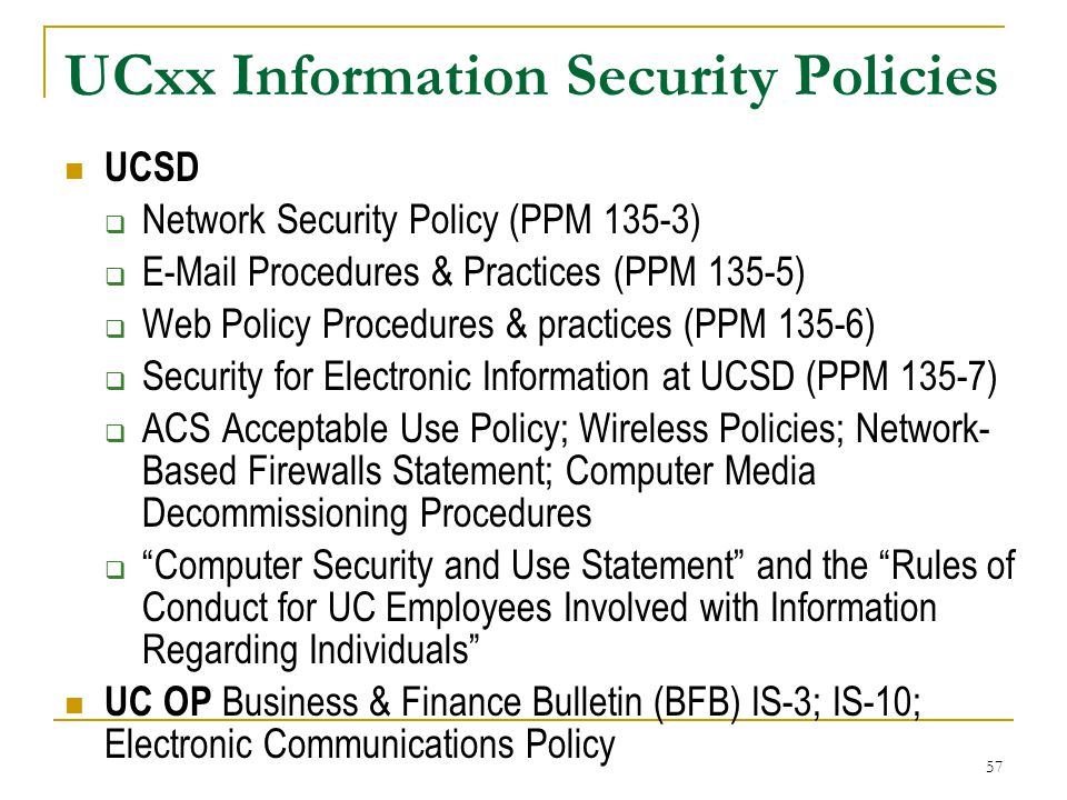 UCxx Information Security Policies