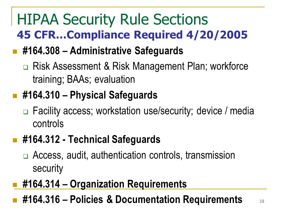 HIPAA Security Rule Sections 45 CFR…Compliance Required 4/20/2005
