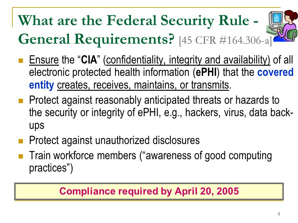 Compliance required by April 20, 2005