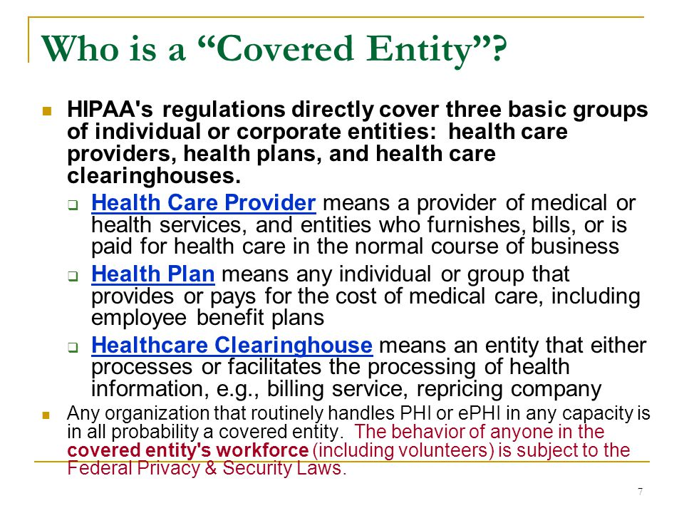 Who is a Covered Entity