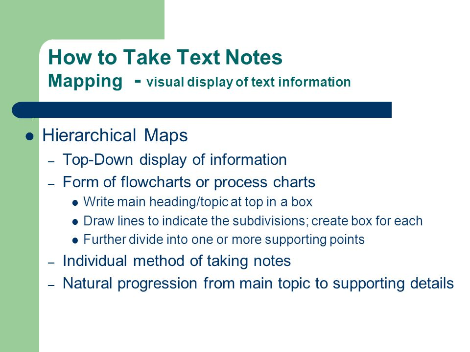 How to Take Text Notes Mapping - visual display of text information