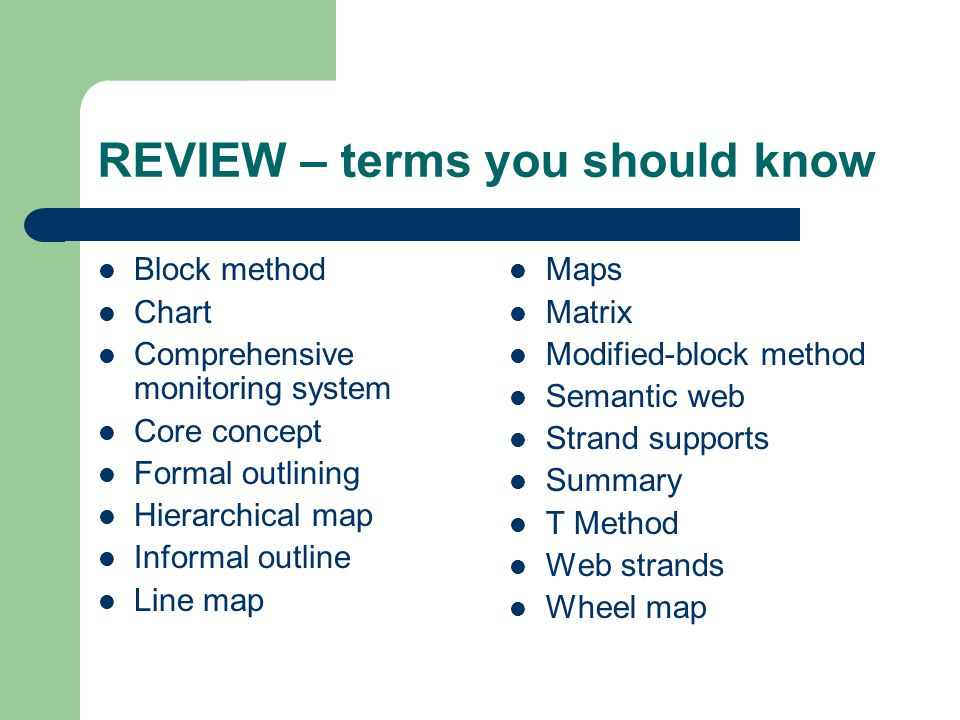 REVIEW – terms you should know